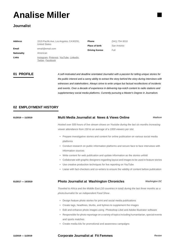 Journalist resume template resume examples recruiter