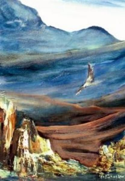 An eagle spreads her wings over the Drakensberg mountains by Marlene Dickerson