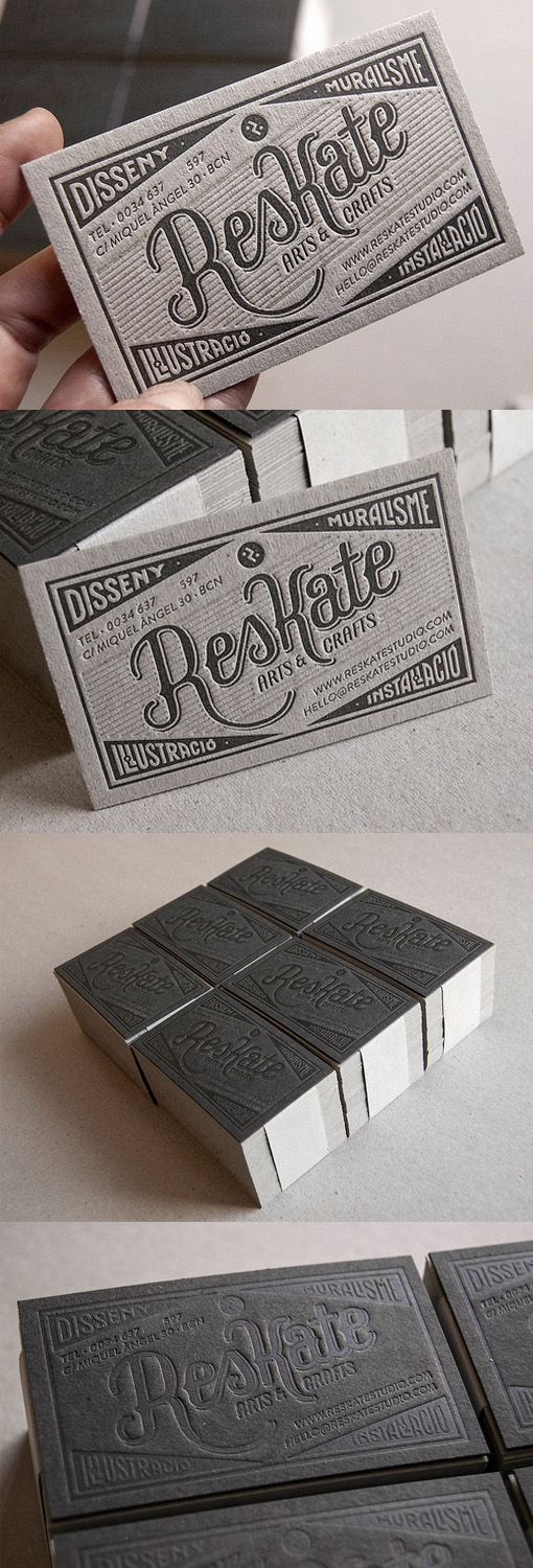 Classic Vintage Typography On A Letterpress Business Card For An Illustrator