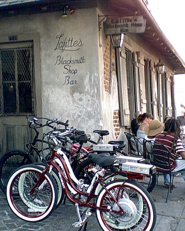 Pedego electric bikes from Best Bet taking a break at Lafitte's Blacksmith Shop in New Orleans, LA