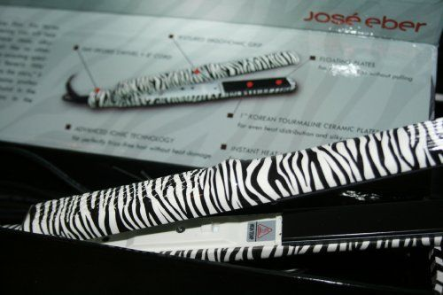 """New Jose Eber Zebra Pro Series Ceramic Tourmaline Flat Iron 1"""" by Jose Eber. $79.85. Generates negative ions and infrared rays to seal the cuticles, repel humidity,  and reduce frizziness which Means shinier, healthier looking hair; Tourmaline technology; Life time warranty; Dual voltage 110-240v - Can be used World Wide!; 1"""" wide ceramic plates. World famous hairdresser to the stars - Jose Eber - brings you a unique new straightening iron designed for beautiful results on ei..."""