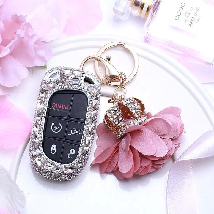 Bling Jeep Dodge Opened Back Key Fob Cover With Rhinestones For Cherokee Wrangler Silver In 2020 Cute Car Accessories Silver Jeep Jeep Dodge
