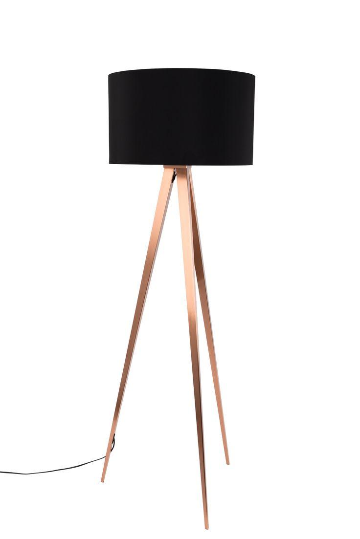 Tripod floorlamp Copper Black, maar dan in het wit