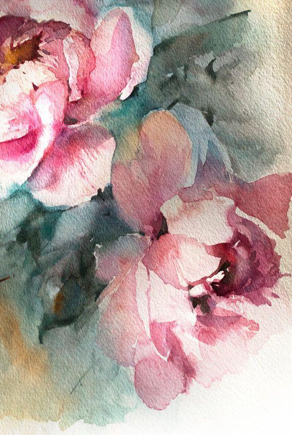 Acuarela original Peonías rosa pintura pintura flores por CanotStop