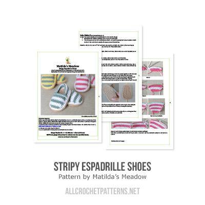Stripy espadrille shoes amigurumi crochet pattern by Matilda's Meadow