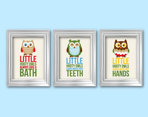 Hooty Owls Always Take A Bath 3 8x10 Kids By RainbowsLollipopsArt, $22.00