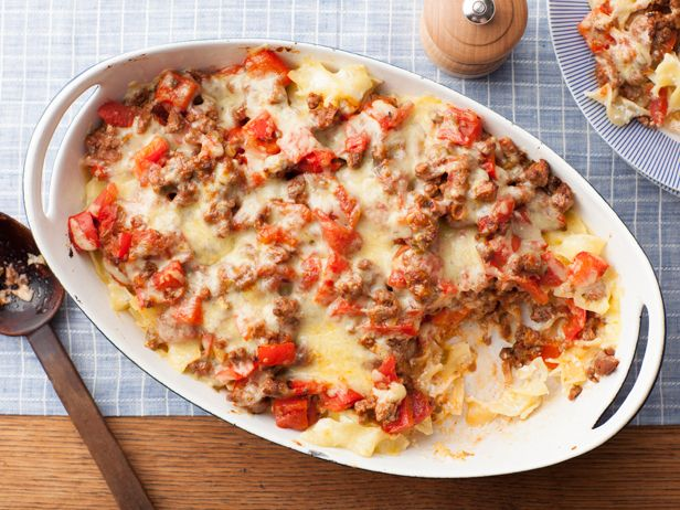Beef and Cheddar Casserole from FoodNetwork.com - Try a new take on the casserole — a standby one-dish dinner. This one combines hearty ground beef with cheddar and egg noodles.
