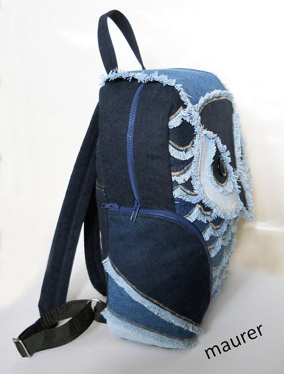 Unique handmade Jeans owl sea backpack made in patchwork style. This modern, cute teenage and girl durable backpack is useful for all your daily essentials. The magnificent backpack of handwork in patchwork style . Perfect for summer! Pair it with a jeans suit or casual day dress. Available to send NOW. You can order the copies also. You will recieve the item you see on the picture. Material: jeans , cotton lining , plastic top zipper Color: denim jeans Shape: owal Feature:  exterior pocket…