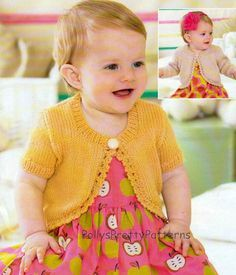This PDF Knitting pattern is for an easy to knit Bolero Top thats got sizes suitable for both babies and little girls. Can be knitted with long or short sleeves. To fit chest sizes 16 to 26 or 0 months to 7 years. Knitted in DK weight wool. Your PDF pattern will be available