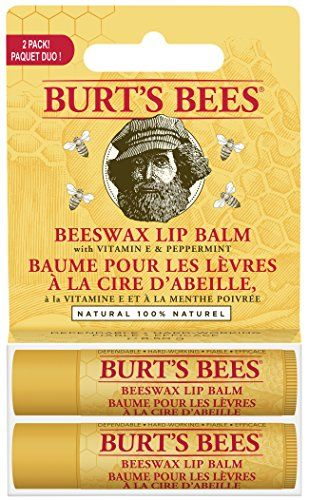 Burt's Bees Beeswax Lip Balm with Vitamin E & Peppermint 0.15 oz (Pack of 2)
