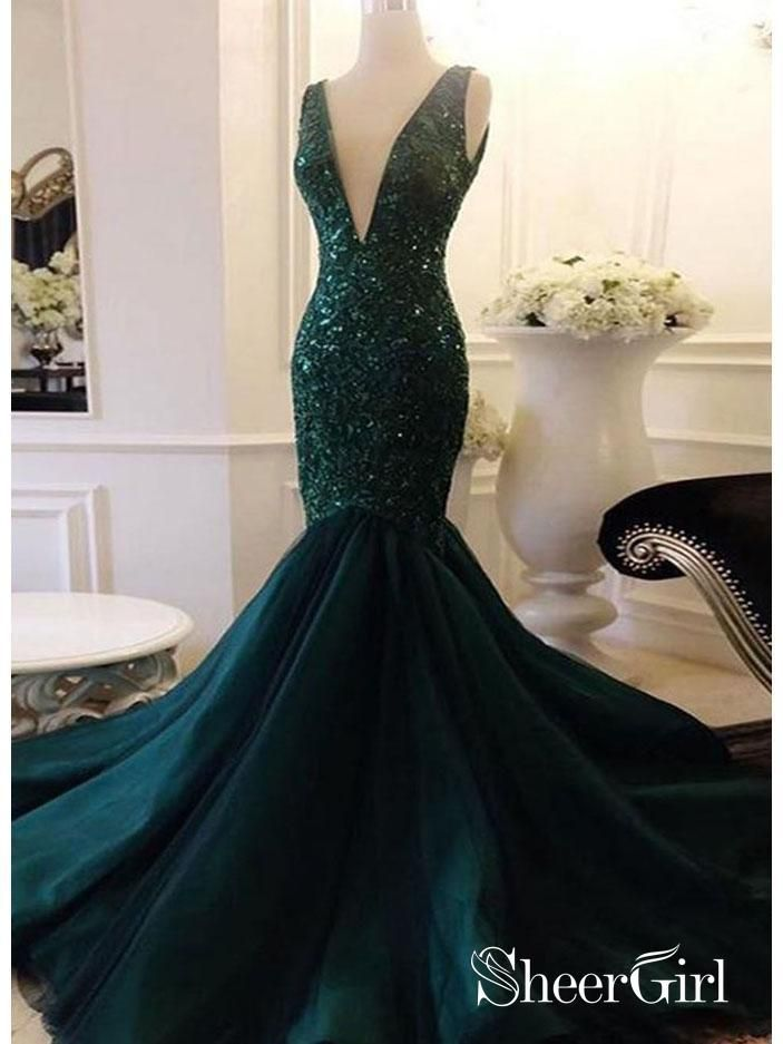 88d1a145008 Mermaid dark green prom dress. Deep v-neck sleeveless trumpet formal  evening ball gowns.