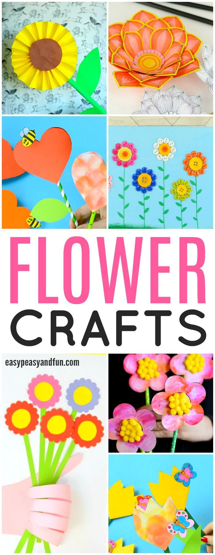 A lot of fun flower crafts for kids. Craft ideas and printable designs.