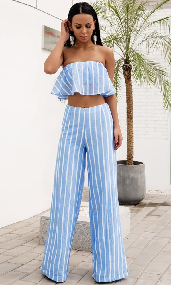 93bd893a4e4e Holiday In Florence Light Blue Vertical Stripe Pattern Strapless Ruffle  Crop Top Loose Wide Leg Pants
