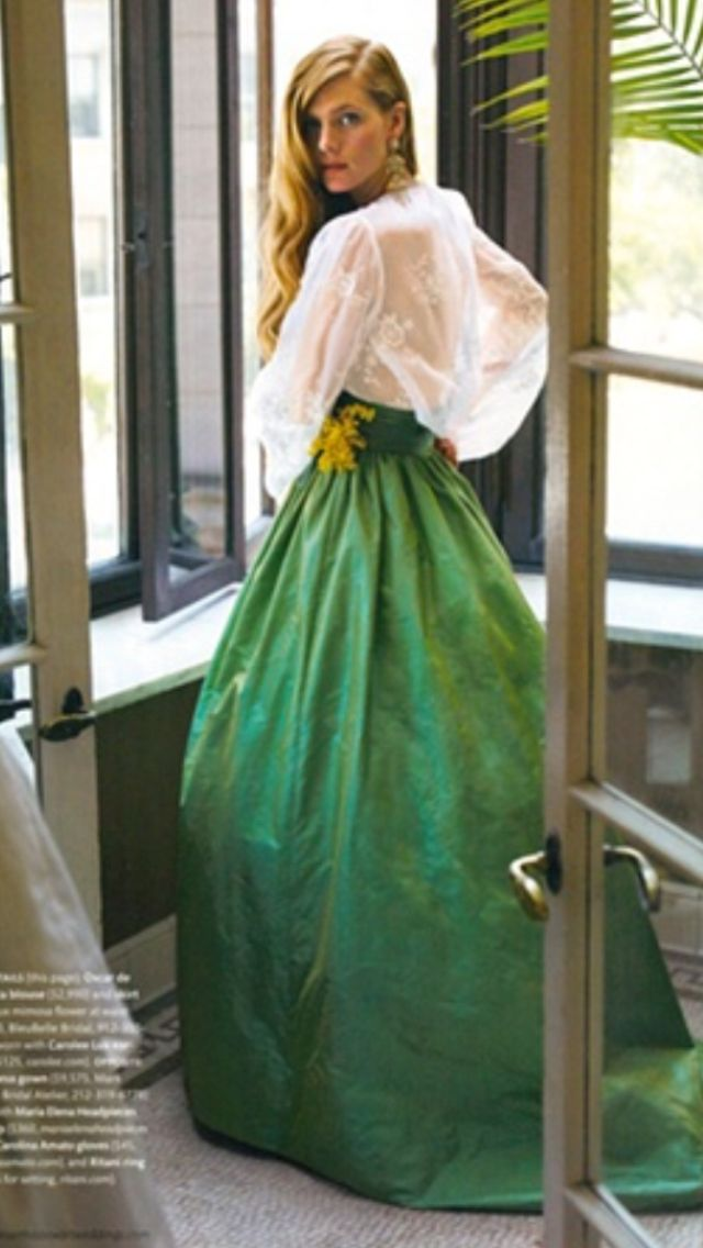 Martha Stewart Weddings. Oscar de la Renta blouse and ball skirt.