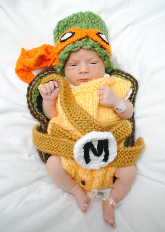 Halloween Ninja Turtle outfit - hat and cocoon, perfect newborn photo prop and Halloween costume on Etsy, $99.00