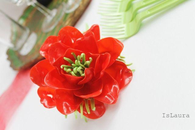 Tutorial come fare fiore con cucchiai e forchette di plastica