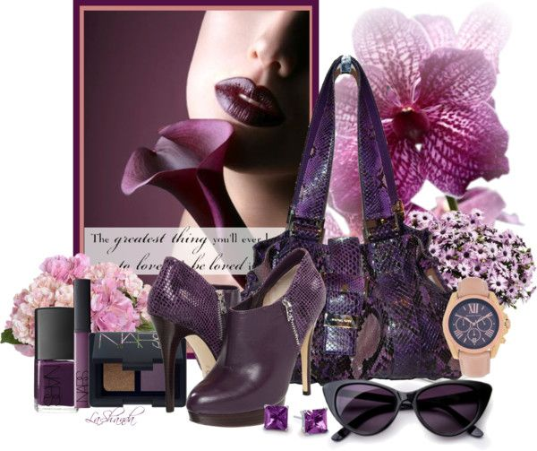 """""""Fun with Friends #54 Michael Kors Purple Python Bag"""" by lashandanista ❤ liked on Polyvore"""