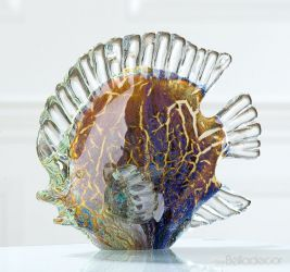 Kézzel készült, fújt üveg hal figura