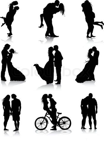 Vector of 'Romantic couples silhouettes'