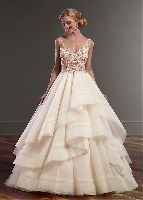 Magbridal Alluring Tulle V-neck Neckline Natural Waistline A-line Wedding Dresses With Beaded Embroidery