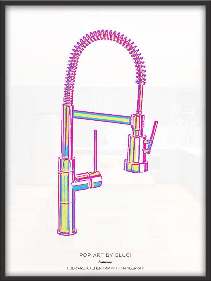 Pop art advert design featuring the Bluci Tiber Pro Kitchen Tap with Handspray