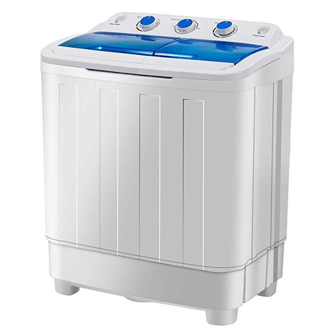 Dorms Portable Washing Machine White/&Blue KUPPET 17lbs Compact Twin Tub Washer and Spin Dryer Combo for Apartment RVs Camping and More