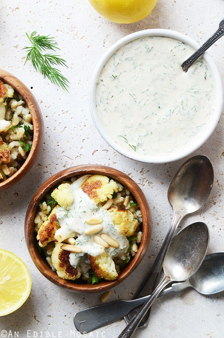 Roasted Cauliflower and Pearl Barley Bowls with Creamy Tahini-Dill Dressing Recipe #vegan #healthy
