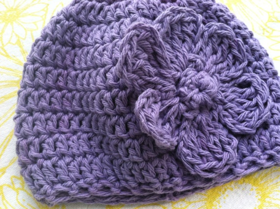 Lavender Crochet Baby Girl HatFlower by chain1purl2 on Etsy