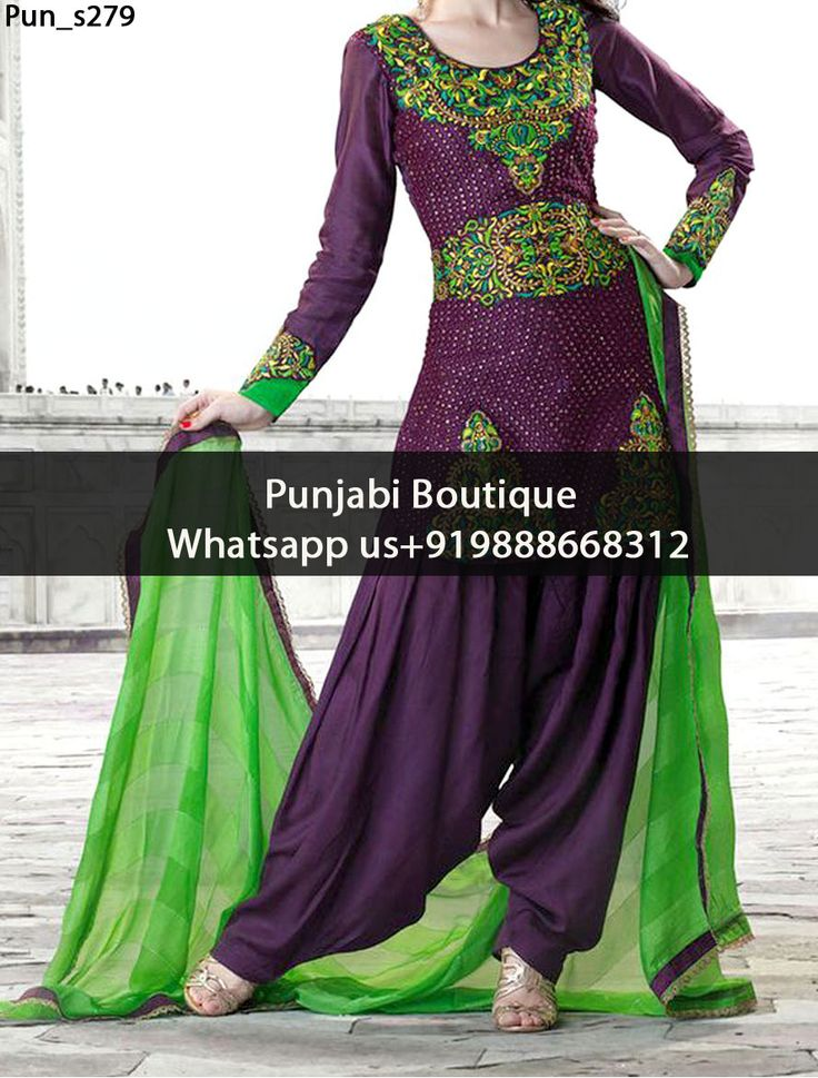 Gorgeous Purple And Green Heavy Embroidered Punjabi Suit Product Code: Pun_s279 To order this dress , please call or WhatsApp us at +919888668312 We can design this Punjabi Suit in any color combination or on any fabric (price may vary according to fabric)