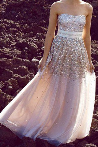 Sexy Strapless Sequined A-Line Maxi Dress For WomenProm Dresses | RoseGal.com