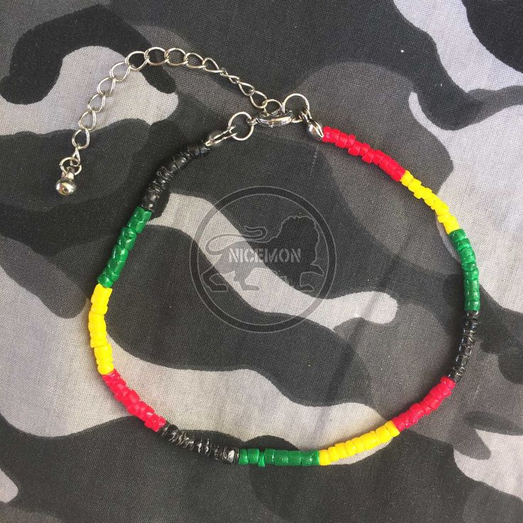 Shell Anklet Rasta Colors White Clam In Rasta Color Anklet Jamaica Hawaii 2-3 MM