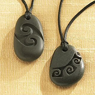 Maori Stone Jewelry - carved rock pendants - summer necklace for girl or guy - unisex - grey river rock