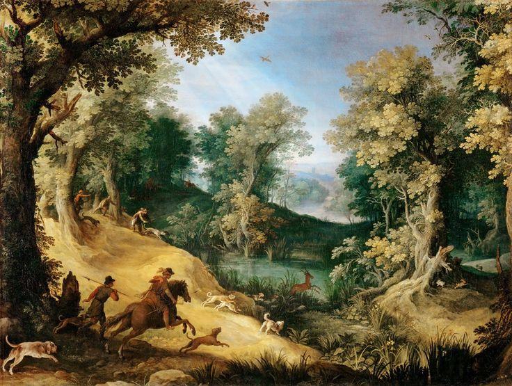 Hertenjacht ~ ca. 1593 ~ Olieverf op doek ~ 105 x 137 cm. ~ Musée du Louvre, Parijs