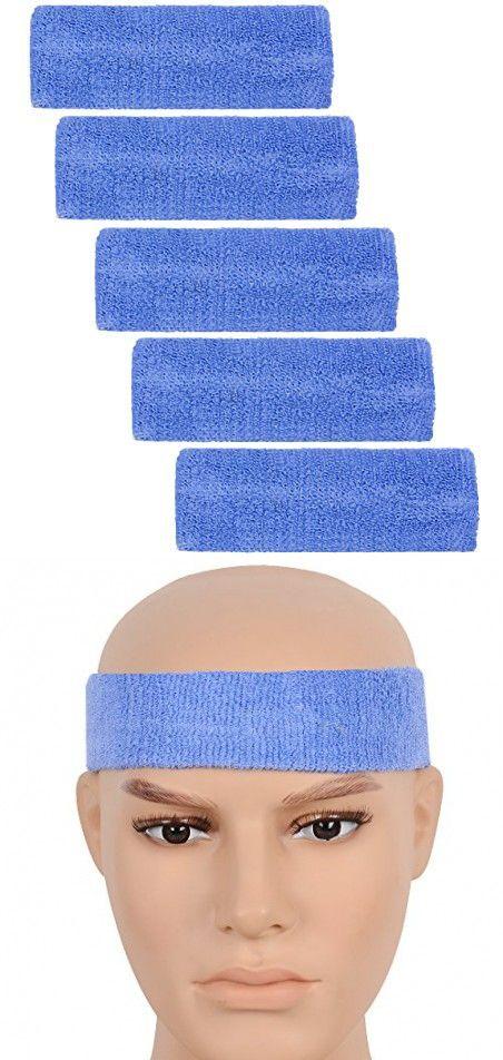 ColorYourLife 5 Thick Elastic Headbands Basketball Yoga Fitness Walking Headbands Sweatband Head Sweat Bands (Light Blue)