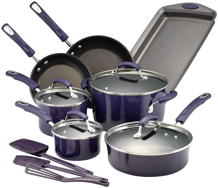 RACHAEL RAY Porcelain Nonstick 14-Piece Cookware Set - Purple $95 - FREE SHIPPING OR PICK UP - COMPARE ELSEWHERE $150+) InterexHome.Com