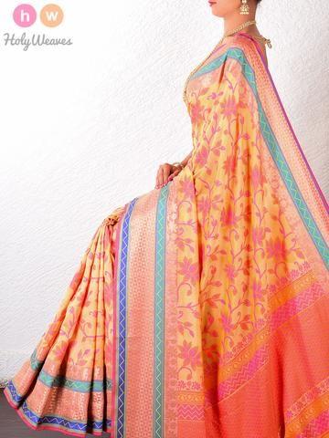 Beige Art Silk Cutwork Brocade Woven Saree