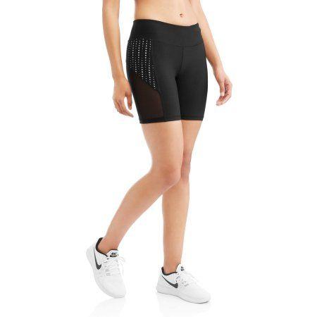 N.Y.L. Sport Women's Performance Bike Shorts With Contrast Lasercut Insert, Size: Medium, Gray