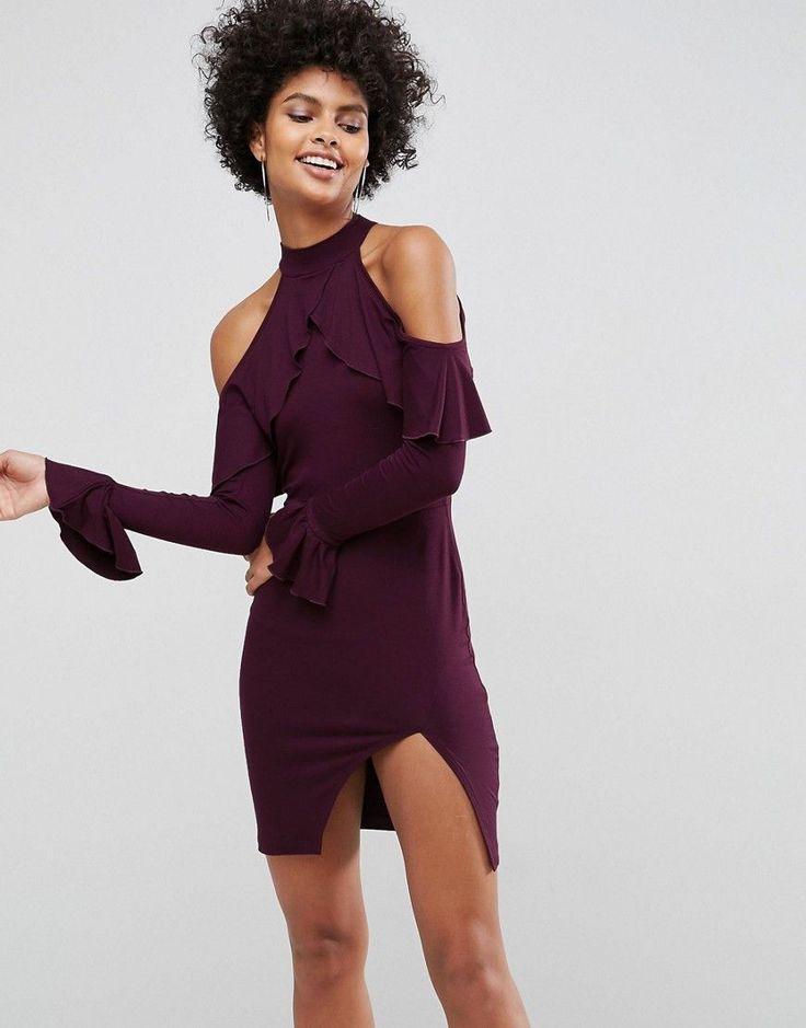 ASOS Ruffle front Open Back Mini Dress - Purple