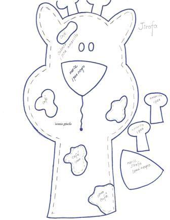 Moldes de jirafa moldes de animales pinterest molde - Patrones de cabezas de animales de tela ...