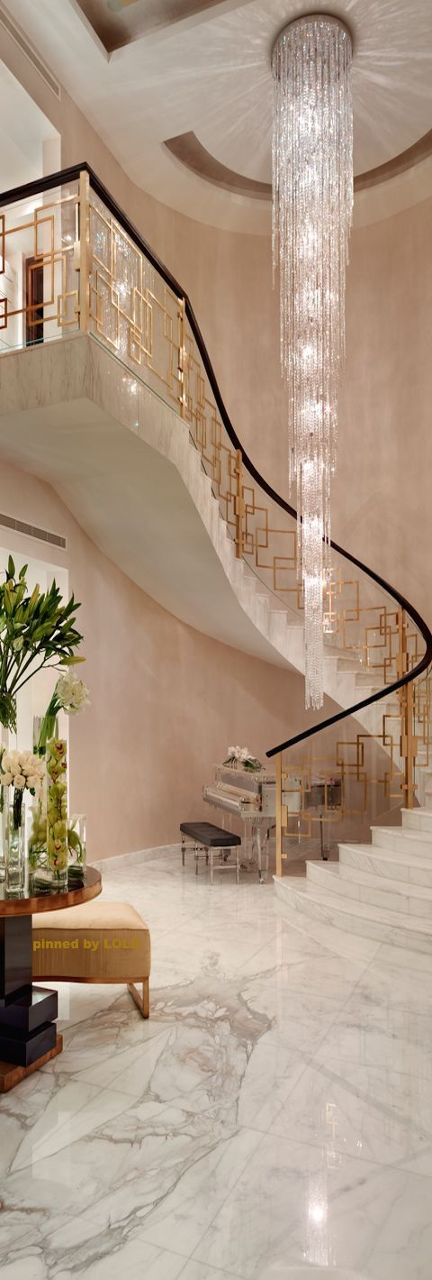 Very dramatic stairway chandelier