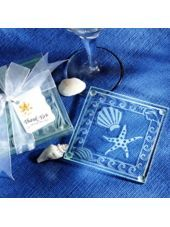 Shell & Starfish Glass Coaster Wedding Favor - Party City