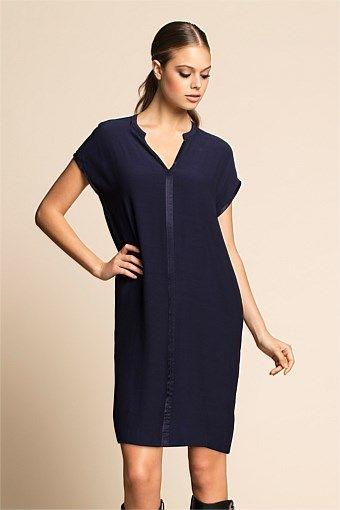 Women's Dresses - Emerge Satin Trim Dress - EziBuy Australia