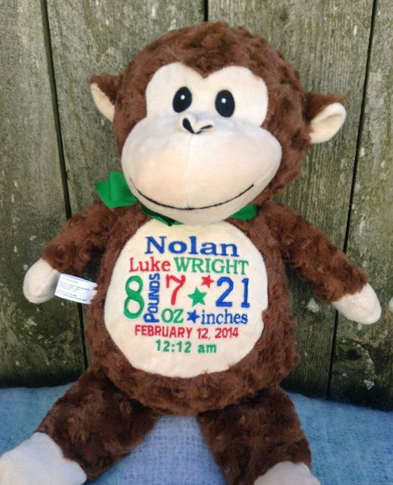 430 best personalized baby gifts images on pinterest personalized baby gift monogrammed monkey birth announcement by worldclassembroidery 3999 negle Images