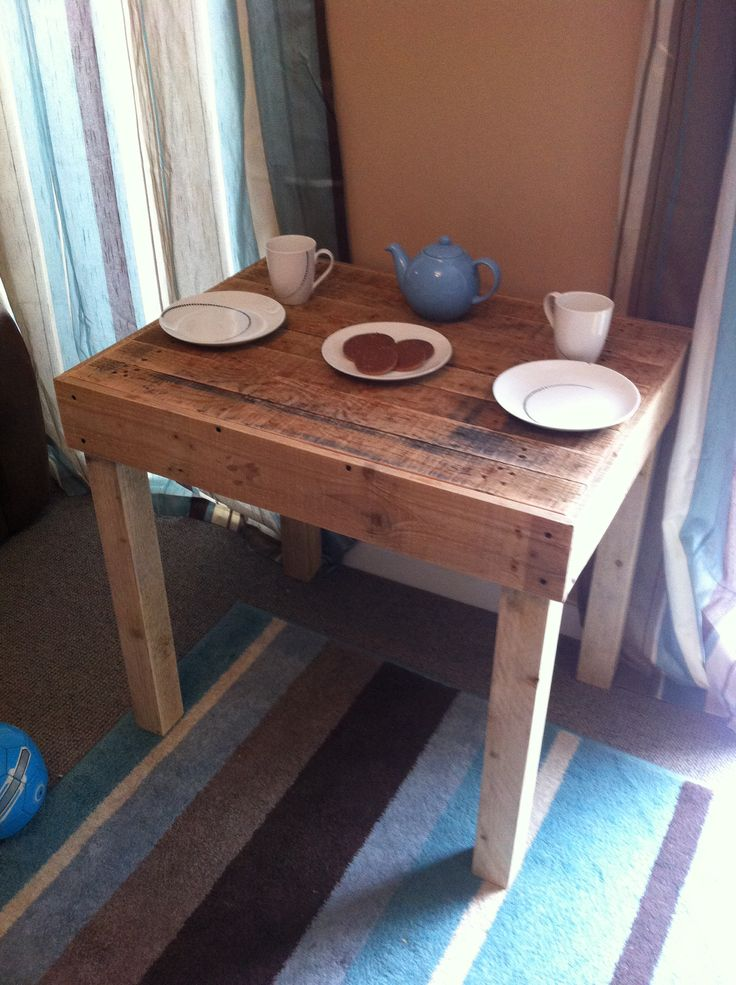 Coffee table made from pallet wood and fence posts. No stain on this yet, just sanded.