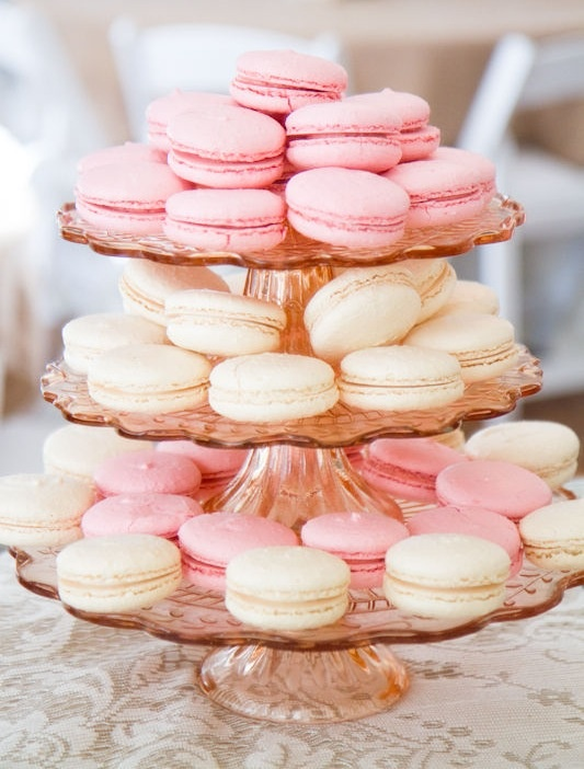 Pink Macaroons. I just love how they pull color into the dessert