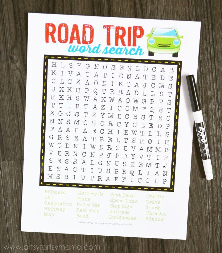 Free Printable Road Trip Word Search at artsyfartsymama.com