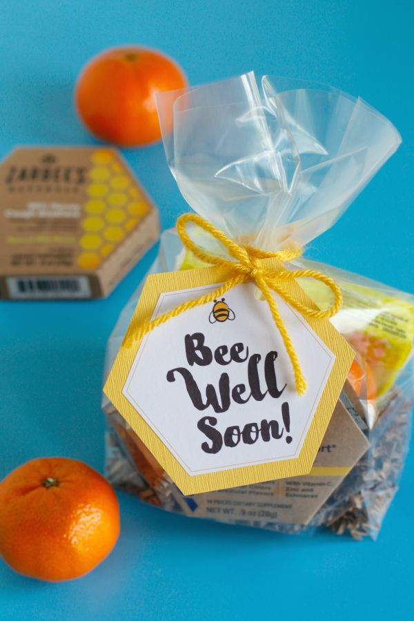 """We're putting together a """"bee"""" well gift bag for friends and family who might be feeling a little under the weather this season, with help from @Zarbees! Fill these bags with get well goodies and print out these FREE printable """"Bee Well Soon"""" gift tags to add a little love! (ad)"""