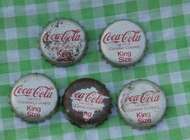 5 Old Cork Lined Coca Cola King Size Bottle Caps, Coke Bottle Cap Lot, Vintage for Crafts or Collecting