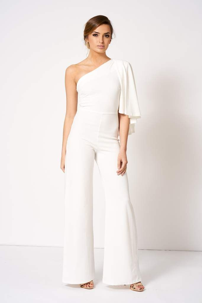 ce34e4c1832c White One Shouldered Cape Sleeve Jumpsuit in 2019 | Bridal Jumpsuits ...