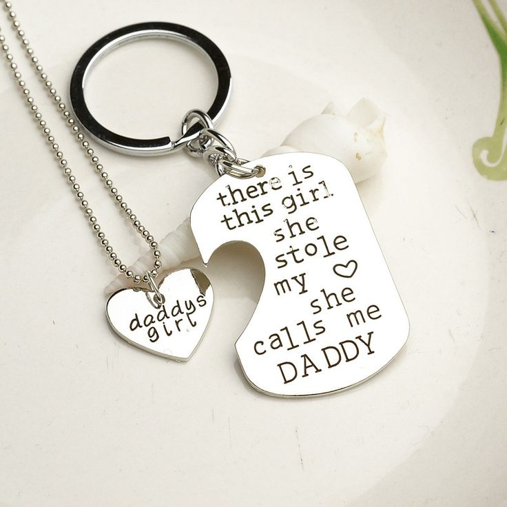 Dad And Daughter Gifts Part - 48: Earl Father Daughter Matching Keychain U0026 Heart Necklace